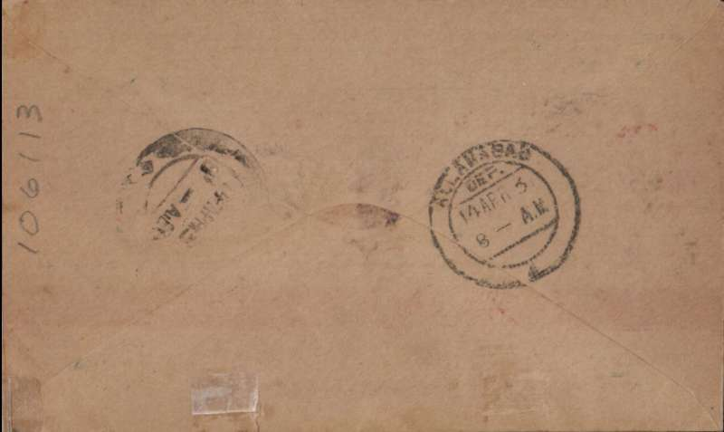 (Alex Newall personal collection) Imperial Airways, first experimental flight to Australia, intermediate stage DELHI to ALLAHABAD, bs 14 Apr 31, Souvenir cover franked 3 annas. Reference # 31.09b  Alexander Newall, 'British External Airmails Until 1934', 2nd edition 1996.