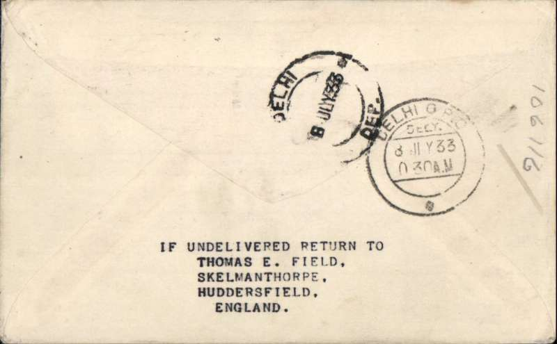 (Alex Newall personal collection) Imperial Airways/ITCA, European feeder mail, route extension to Calcutta, IRELAND - DELHI, bs 8 Jul 33. Routed by LONDON - KARACHI - JODHPUR - ALLAHABAD - ASANSOL - (CALCUTTA) service. Souvenir cover franked 11 Pi canc Baile Claith cds,. Reference # 33.13d7 assigned retrospectively, not listed in  Alexander Newall, 'British External Airmails Until 1934', 2nd edition 1996. RARE.