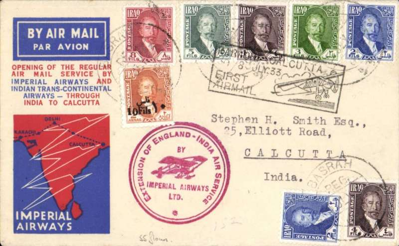 (Alex Newall personal collection) First acceptance of IRAQI mail for Imperial Airways/ITCA route extension to Calcutta, BASRA - KARACHI 8 Jly 33 hs - CALCUTTA, bs 10 Jul 33. Registered (label) souvenir cover, Imperial Airways Ltd red cachet 'Extension of England-India Air Service', franked 38 fls. Reference # 33.13d5,  Alexander Newall, 'British External Airmails Until 1934', 2nd edition 1996.