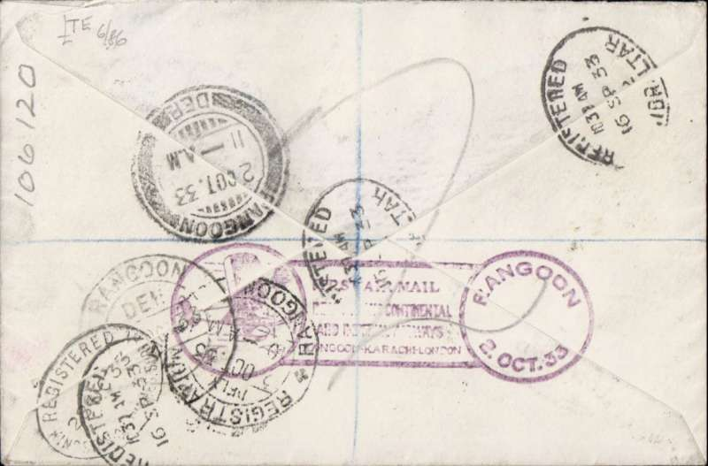 (Alex Newall personal collection) First acceptance of GIBRALTAR mail for Imperial Airways/ITCA route extension to Rangoon, (GIBRALTAR 19.9.33 Croydon )- KARACHI - CALCUTTA - RANGOON  bs 2.10.33. Registered (label) souvenir cover, violet  London-Karachi-Rangoon fist flight cachet verso, franked 11d (8d inclusive air rate + 3d registration). Reference # 33.17b6,  Alexander Newall, 'British External Airmails Until 1934', 2nd edition 1996.