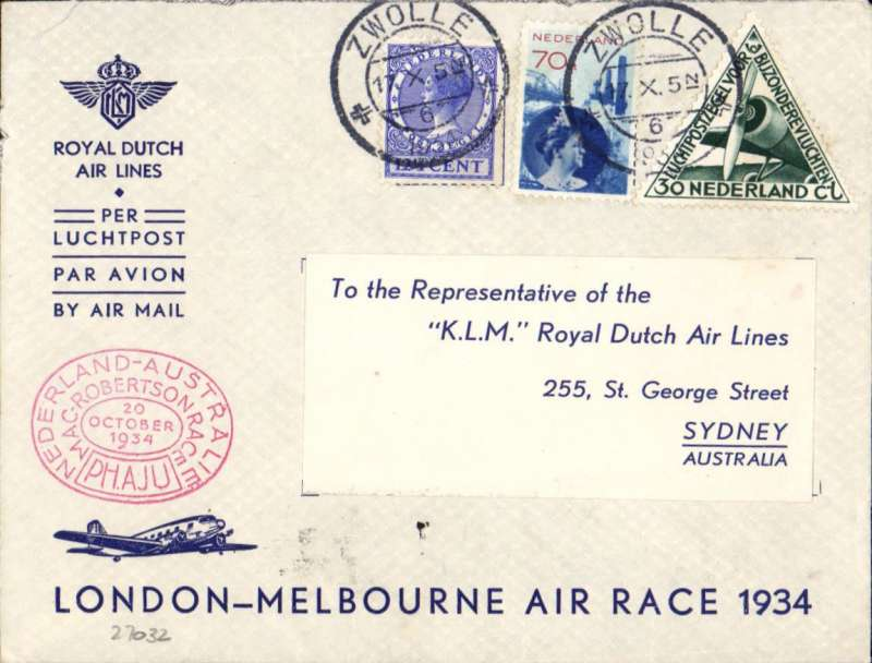 """(Netherlands) MacRobertson Air Race, Holland to Australia, bs 26/10, also oval double ring KLM commemorative arrival cachet verso """"Royal Dutch Airways/KLM Liner 'Uiver' arrived at Melbourne 10.54am, Wednesday 24/10/34"""", franked 82 1/2c + special triangular stamp, canc Zwolle 17/10, oval red race cachet, KLM printed souvenir race cover, flown by Parmentier and Moll."""