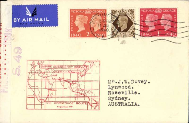 """(GB External) World War II Empire Emergency Service (operated by C class flying boats, 16 of which were South of Italy on 10th June), first dispatch of airmail to Australia, carried via the """"Horsehoe Route"""" (by sea to Durban and thence by air), fine large red cachet.Francis Field authentication hs."""