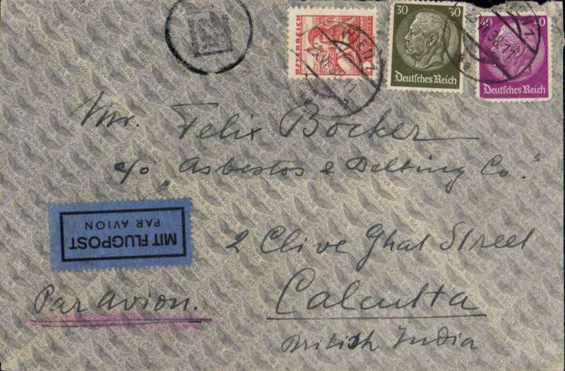 (Scarce and Unusual Routing) Austria acceptance for India, VIENNA to CALCUTTA, carried on Imperial Airways, FIRST 'ALL THE WAY' BY FLYING BOAT MAIL TO AUSTRALIA on Imperial Airways Eastern Service flight # IE265, bs Calcutta 30/6, Sydney 6/7, airmail cover mixed franking 70p German and 3G Austrian stamps, 23 Jun 38 cds, ms 'Par Avion'. Flown by Camilla/Cordelia to Calcutta. SCARCE