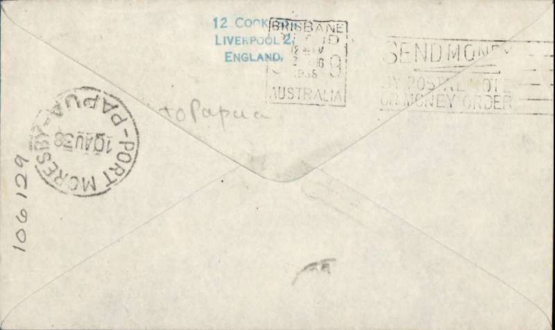 (GB External) LAST DISPATCH OF SURCHARGED AIRMAIL, GB to PAPUA, NEW GUNEA, Liverpool-Port Moresby, correctly rated 1/3d with mixed KEVII and KGV franking, typed 'Last despatch of Australian/surcharged airmail/July 23 1938'. Carried on Imperial Airways Eastern Service flight #673 by 'Castor ' to Karachi then 'Cariolinus' to Sydney, bs 2/8, and onward to Port Moresby, bs 10/8. RARE.