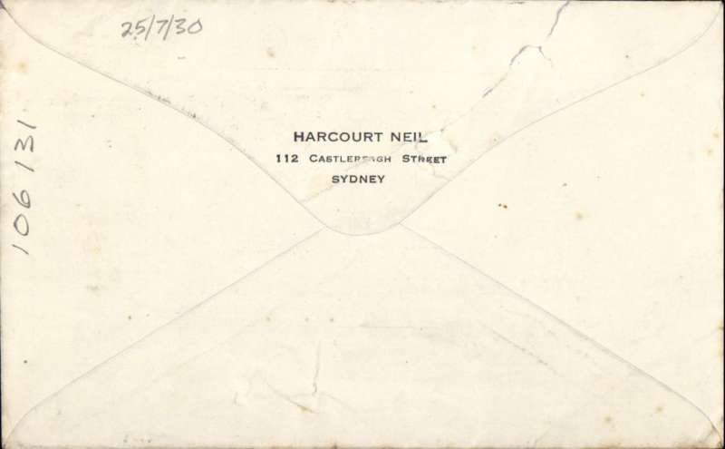 (Australia) Australia to London, typed 'AIR MAIL. BY AUSTRALIAN & KARACHI-LONDON/ORONSAY', airmail etiquette cover franked 10 1/2d, canc Sydney cds, by air to Perth on Adelaide-Perth service (confirmed by 10 1/2d postage, see Wingent p30), by sea from Freemantle on RM 'Oransay' to Colombo (c16 days), train to Karachi, then transfer to Imperial Airways Eastern Service flight (likely) # IW72 departing 19/8, arriving London 25/8. Flown by City of Karachi to Basra, City of Cairo to Cairo, train to Alexandria, City of Alexandria to Salonica, City of Birmingham to Cologne, train to London. The SS Oronsay was a British ocean liner servicing the GB-Australia route. Converted to a troopship in WWII and was sunk by an Italian submarine in 1942. Closed flap tear, see scan.