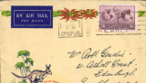 """(Australia) Sydney to Edinburgh, ''Xmas Greeting Card By Christmas Air Mail"""", etiquette, franked 1/6d, carried on Imperial Airways Eastern Service flight #IW505, departed Brisbane 12/12 on 'Brisbane', Singapore 15/12 on Atlanta, Karachi 19/12 on Helena, Alexandria 23/12 on Satyrus, arriving Christmas Day at Croydon on Horatius. Uncommon. Closed flap tear, see scan."""