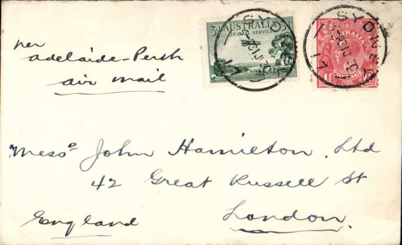 (Australia) Australia to England, Sydney to London, correctly rated for transmission by air from Adelaide to Perth, then by sea to England. Plain cover franked 4 1/2d, ms 'Adelaide-Perth/Air Mail'.