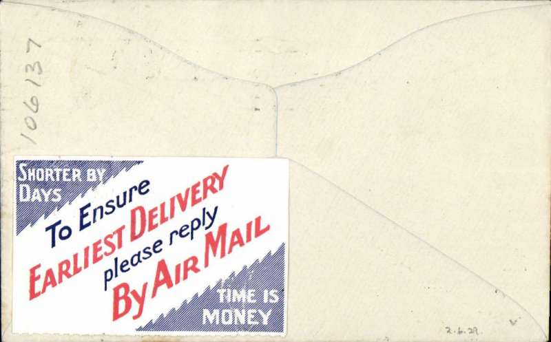 """(Australia) F/F Adelaide to Perth, no arrival ds, franked 4d, blue angel AAS Ltd vignette, red/white/blue etiquette, printed Davis Bros. souvenir cover, fine """"Earliest Delivery"""" F/F vignette verso, rated a great rarity by Mair, Western Australian AW. No b/s's were applied to ordinary covers, see Eus 136. Weak postmark, year not clear, but date confirmed by special envelope.."""