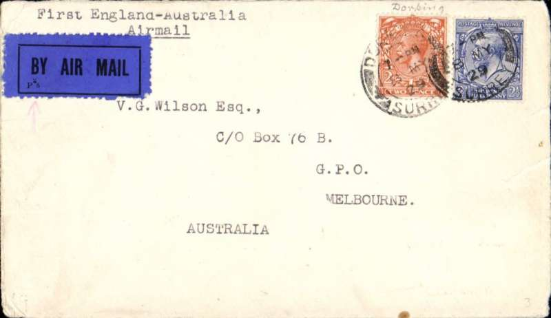 """(GB External) First GB acceptance for sea mail to Freemantle, Australia, then F/F over Australian Perth-Adelaide service, saving 4 days on the journey, Surrey to Melbourne, bs 7/6, typed endorsement """"First England-Australia Airmail"""", black/dark blue etiquette, plain cover. Correctly franked 4 1/2d - 3d air fee plus 1 1/2d basic rate. Francis Field authentication hs verso. 1cm closed tear rh edge, see scan."""