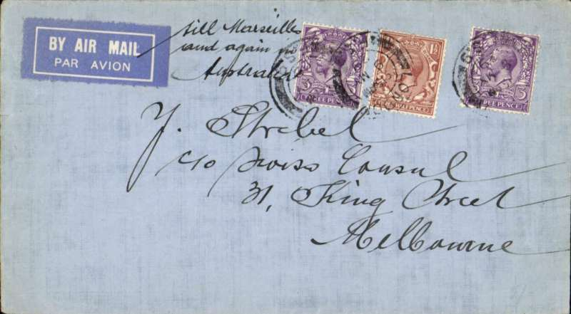 """(GB External) SCARCE First GB acceptance, Surrey to Melbourne, for sea mail to Freemantle and """"ADDITONALLY FLOWN LONDON-MARSEILLES"""" (confirmed by 7 1/2d postage and ms alongside airmail etiquette 'till Marseilles/and again in/Australia""""), then F/F over Australian Perth-Adelaide service, See Baldwin #222."""