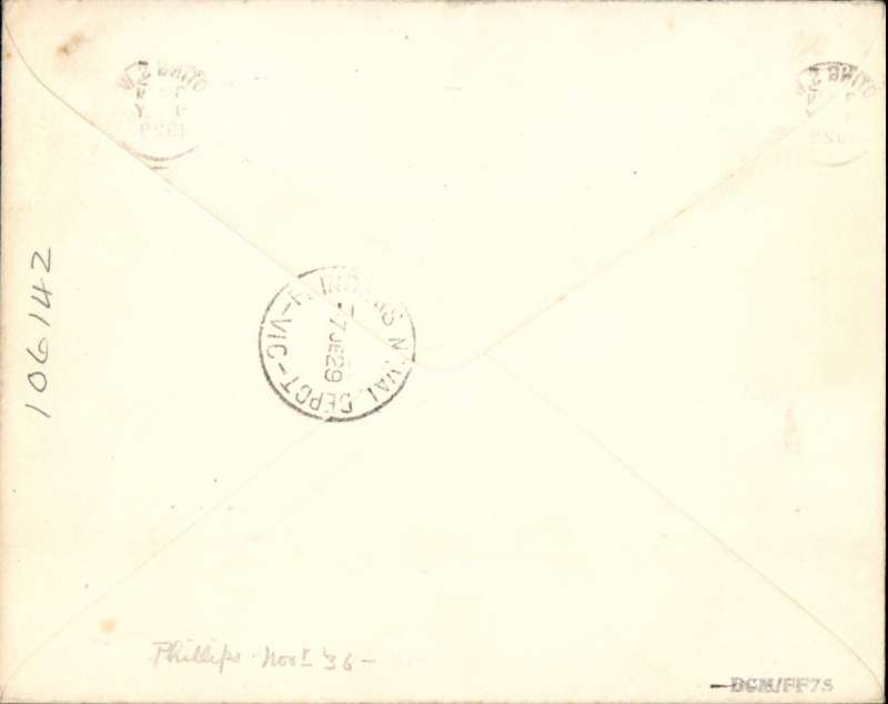 """(GB External) First GB acceptance for sea mail to Freemantle, Australia, then F/F over Australian Perth-Adelaide service, saving 4 days on the journey, London to Melbourne, bs 7/6, typed endorsement """"Via Perth-Adelaide Air Mail', etiquette, plain cover. Correctly franked 4 1/2d - 3d air fee plus 1 1/2d basic rate. Francis Field authentication hs verso."""