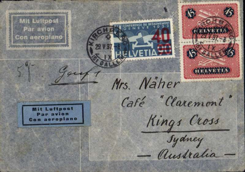 (Scarce and Unusual Routing) Switzerland to Australia, KIRCHEN to SYDNEY by Imperial Airways Eastern Service flight #554. Departed London 3/6 on FLYING BOAT CASSIOPIA to Brindisi 4/6, on Hadrian to Hyderabad 8/6, on Artemis to Singapore 11/6 and on 'Brisbane' to Brisbane, b 17/6. Imprint etiquette cover franked 45c air x2 and 40c, ms '5g'. Flap missing and faint ironed vertical crease, see scan.