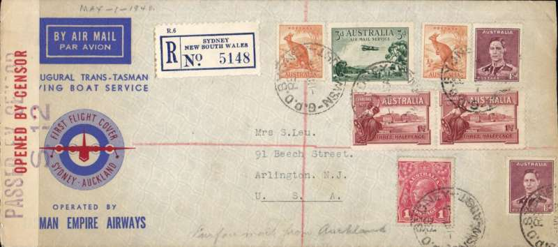 (Australia) Sydney to USA, carried on first regular Sydney-Auckland airmail, bs Auckland 2/5,  blue/cream 'First Flight Regular Service/Australia-New Zealand' souvenir cover franked 5d, TEAL, then forwarded by sea from Auckland to USA via Seattle 6/6, New York 8/6 to Arlington 10/6. Censored souvenir cover franked 11d, sealed Australian censor tape.