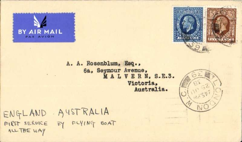 (GB External) SCARCE, Qantas for Imperial Airways, FIRST 'ALL THE WAY' BY FLYING BOAT MAIL TO AUSTRALIA on Imperial Airways Eastern Service flight # IE265, bs Sydney 6/7, plain cover franked 1/3d, canc London 25 Jun 38 cds, ms 'England-Australia/First Service by Flying boat/All the Way'.  Camilla/Cordelia to Karachi, Challenger/Cordelia to Singapore, Challenger to Sydney.