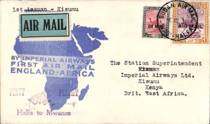 (Sudan) Imperial Airways, Wadi Halfa to Kisumu bs 10/3, flown on the inaugural England-East Africa service, blue/white souvenir 'map' cover franked 2P 10ml. Francis Field authentication hs verso.