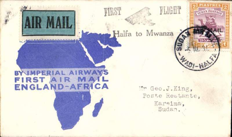 (Sudan) Imperial Airways, Wadi Halfa to Khartoum, bs 7/3, and on to Keirema bs, flown on inaugural England-East Africa service, plain airmail ettiquette cover franked 2P 7ml.
