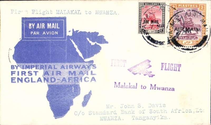 (Sudan) F/F Malakal to Mwanza, bs 10/3, carried on inaugural London to East Africa service, violet biplane cachet, blue map cover, Imperial Airways