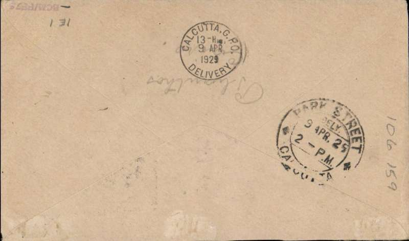 (Egypt) Egypt to India, F/F Cairo/Alexandria) to Karachi 6/4 and on to Calcutta bs 9/4. Carried on Imperial Airways Eastern Service flight #IE1 all the way by City of Jerusalem.Plain cover, flight cachet  showing map of route franked 35ml inc SG132. Francis Field authentication hs verso.