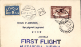 (Egypt) First flight, ALEXANDRIA to VIENNA, bs 21/4, carried on Imperial Airways Eastern Service flight #IW54, printed airmail etiquette cover franked 27mls.
