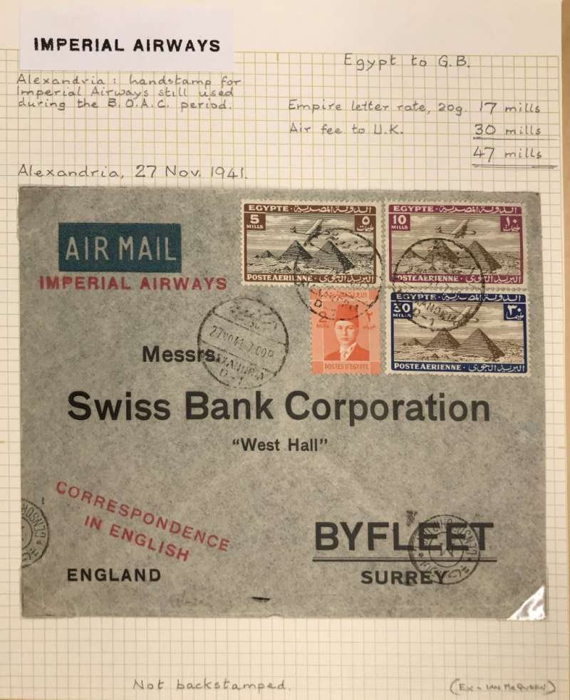 (Egypt) Censored WWI airmail, Alexandria to London, printed bank air mail etiquette cover, red 'Imperial Airways' hs (still used though flown BOAC) franked 47 mls (17 mls Empire letter rate, 20g and 30 mls air fee to UK), Egypt censor mark.
