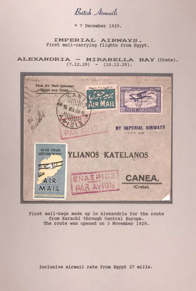 (Egypt) F/F  ALEXANDRIA to MIRABELLA, 10/3 arrival ds on front, carried on Imperial Airways Africa Service flight #AN1 by Short Calcutta Flying Boat  'City of Athens', printed souvenir cover franked 21mls, blue/yellow IAW 'Give Your Letter Wings' label.