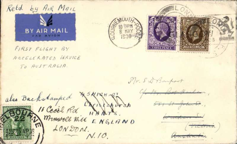 (GB External) England to Australia, carried on the FIRST FLIGHT OF NEW ACCELERATED ENGLAND-INDIA-AUSTRALIA SERVICE #IE643 London to Melbourne, bs 20/4. Carried by Centaurs to Karachi, by Coogee to Singapore, and by Canberra to Melbourne. Plain cover, franked 1/3d, ms 'First Flight By/Accelerated Service/To Astalia' Wingent, p41. ALSO FLOWN BACK on flight IW648 by Canberra to Darwin, Caledonia to Penang and Calpurnia to Southampton. A scarce item offering a flying boat feast.