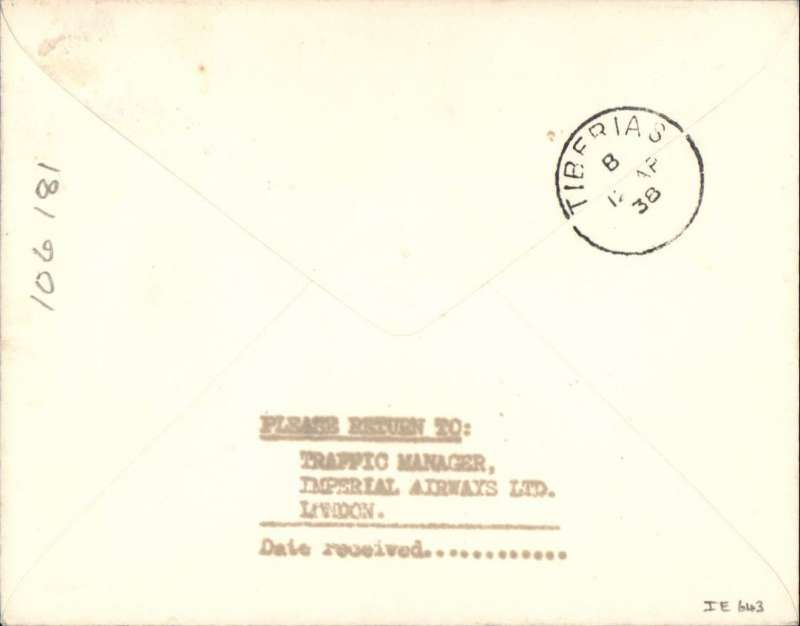 (GB External) ENGLAND to PALESTINE, bs Tiberius 12/4, TEST COVER carried on the First Flight of the NEW ACCELERATED ENGLAND-INDIA-AUSTRALIA SERVICE #IE643. Carried all the way by flying boat Centaurus. Plain cover, franked 1 1/2d, ms 'First regular/accelerated/service/Summer 1938' addressed to the Traffic Manager, Imperial Airways.