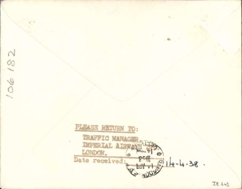 (GB External) ENGLAND to RANGOON, bs 14/4, TEST COVER carried on the First Flight of the NEW ACCELERATED ENGLAND-INDIA-AUSTRALIA SERVICE #IE643. Carried all the way by flying boat Centaurus to Karachi, then by Coogee to Rangoon. Plain cover, franked 1 1/2d, ms 'First regular/accelerated/service/Summer 1938' addressed to the Traffic Manager, Imperial Airways.