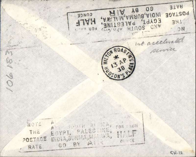 (Egypt) Alexandria to London, bs 14/4, SCARCE FIRST ACCELERATED FLIGHT on the Imperial Airways CALCUTTA TERMINAL service #CW12, flown all the way by RMA Corsair, departed Alexandria 11/4 and arrived Southampton 13/4,  imptint etiquette cover, franked 15mls canc Alec 9 Apr cds.