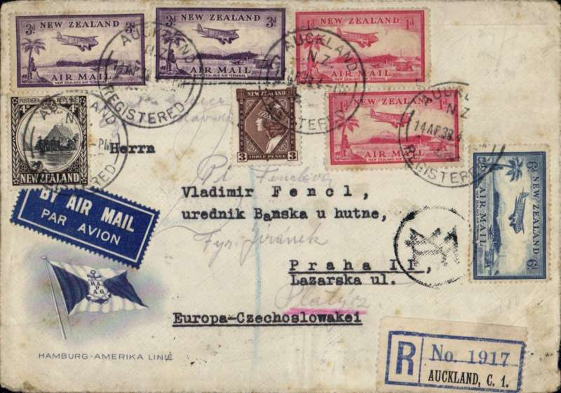 (New Zealand) New Zealand to Czechoslovakia, AUCKLAND to PRAGUE, by sea to Sydney, transferred to IMPERIAL AIRWAYS EASTERN FLIGHT IW #646 and flown by DH86 'Adelaide' to Darwin, Short S23 flying boat  'Coogee' to Karachi, then Short S23 flying boat 'Challenger' to Athens bs 27/4. Then DLH to Budapest bs 28/4, and by surface to Prague. Registered (label) Hamburg-America Line cover, tied airmail etiquette, Greek currency mark. Super item.
