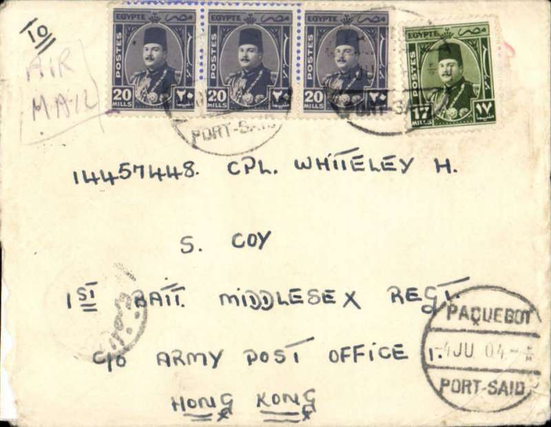 """(Egypt) Airmail from ship, Port Said to Hong Kong,  posted from SS Empire Orwell, launched as the """"Pretoria"""" in 1936 and operated as a hospital ship in WWII. Renamed the SS Empire Orwell in 1950 and used as a troopship to and from Korea and Malaya (ref National Archives). Plain cover franked 77ml, canc Paquebot/Port Said cds, addressed to 1st Battalion Middlesex Regiment, c/o Army Post  Office, Hong Kong,  'Field Post Office/10 J.. 50/ 385 (Hong Kong) arrival ds, ms 'Air Mail. The 1st Battalion of the Middlesex Regiment was deployed to Korea for a year in 1950."""