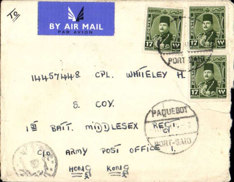 """(Egypt) Airmail from ship, Port Said to Hong Kong,  posted from SS Empire Orwell, launched as the """"Pretoria"""" in 1936 and operated as a hospital ship in WWII. Renamed the SS Empire Orwell in 1950 and used as a troopship to and from Korea and Malaya (ref National Archives). Plain cover franked 58ml, canc Paquebot/Port Said cds, addressed to 1st Battalion Middlesex Regiment, c/o Army Post  Office, Hong Kong,  'Field Post Office/10 J.. 50/ 385 (Hong Kong) arrival ds, ms 'Air Mail, Egyptian currency control mark. The 1st Battalion of the Middlesex Regiment was deployed to Korea for a year in 1950."""