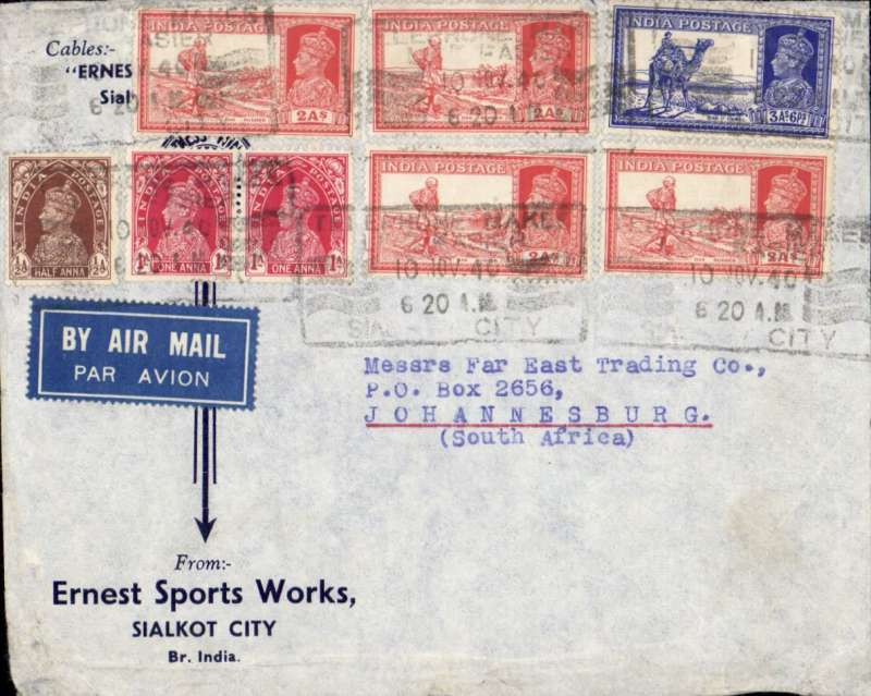 (India) WWII uncensored airmail from Sialkot to Johannesburg, carried to Karachi by Indian National Airways and from Karachi to Johannesburg by BOAC over the EMERGENCY HORSESHOE FLYING BOAT ROUTE established after Italy entered the War in June 1940. Commercial corner single rate cover correctly franked  14 annas).
