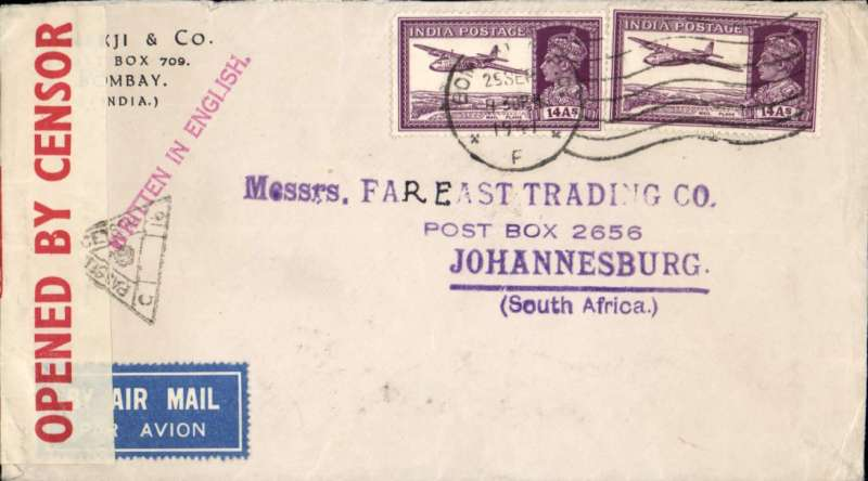 (India) WWII censored registered (label) airmail from Bombay to Johannesburg, carried to Karachi by Indian National Airways and from Karachi to Johannesburg by BOAC over the EMERGENCY HORSESHOE FLYING BOAT ROUTE established after Italy entered the War in June 1940. Commercial corner double rate cover correctly franked 28 annas, sealed India crown over OBC censor tape tied triangular black Karachi  triangular censor mark. Fine.