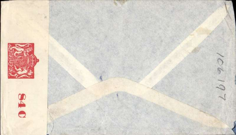 (India) WWII censored airmail from Bombay to Johannesburg, carried to Karachi by Indian National Airways and from Karachi to Johannesburg by BOAC over the EMERGENCY HORSESHOE FLYING BOAT ROUTE established after Italy entered the War in June 1940. Commercial corner double rate cover franked  1R 16 annas), sealed India crown over OBC censor tape tied triangular black Karachi  triangular censor mark, Nibble top rh corner.