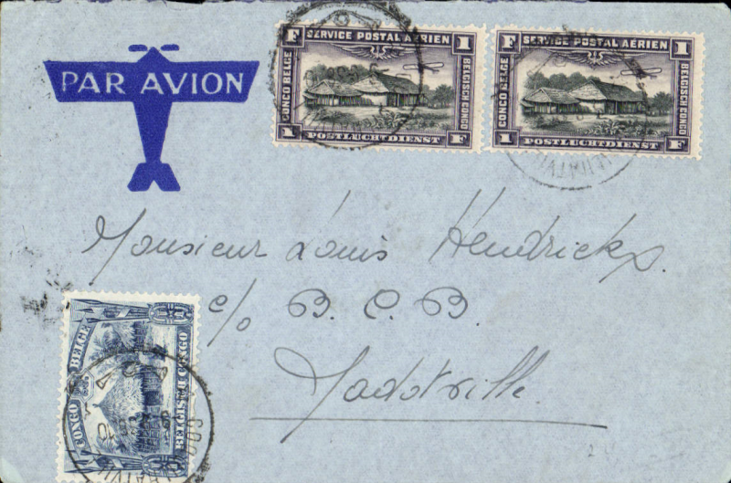 (Belgian Congo) Internal airmail cover, Coquilhatville 9/9 to Jadotville 18/9 via Luluabourg 15/9, franked 2F 25c. Good cancellations, great for tracking the route.