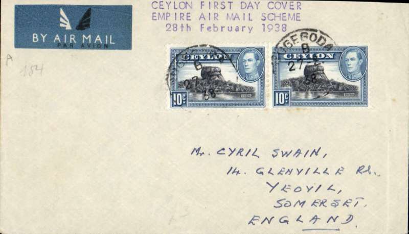 """(Ceylon) Empire Airmail Scheme, Colombo to London via India, no arrival ds, franked 20c, imprint airmail etiquette cover, typed 'First Day Cover/Empire Airmail Scheme/28th February 1938""""."""