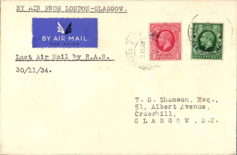 (GB Internal) Railway Air Service, last mail carrying flight London-Glasgow, plain etiquette cover franked 1 /2d,  typed 'By Air From London to Glasgow' and 'Last Air Mail by RAS'.