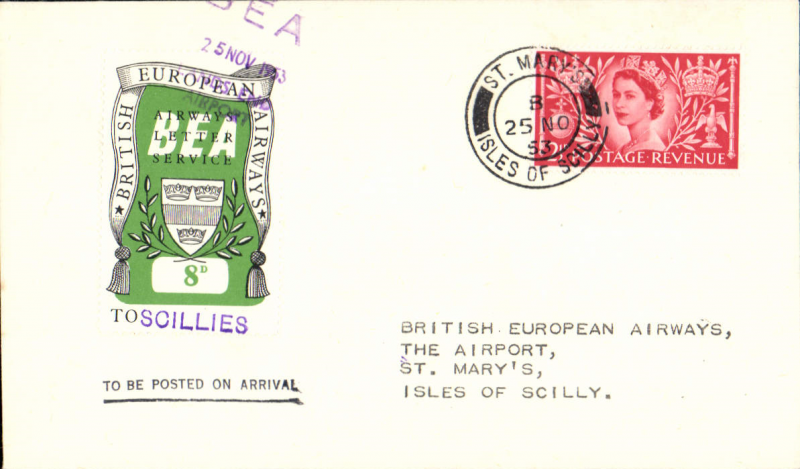 (GB Internal) First day BEA 8d crest in shield label, official cover flown London-Scilly Isles, franked QEII 2 1/2d, 8d label tied by BEA London dated depart cachet, posted on arrival.