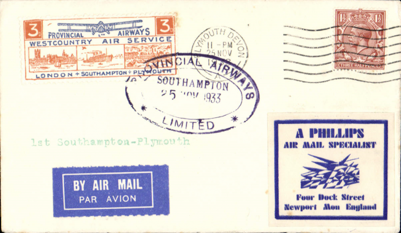 """(GB Internal) Provincial Airways Ltd, inauguration of the third GB Internal Airmail Service, """" West Country Air Service"""", Southampton to Plymouth, 3d orange bi-coloured vignette tied by oval Southampton/Provincial Airways Ltd depart cachet, Plymouth arrival cds, plain cover. The service operated for six days only."""