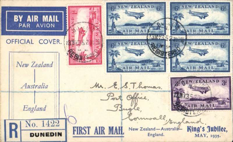(New Zealand) Interrupted Jubilee Air Mail flight, intended return flightNew Zealand-(Australia)-Engand, no arrival ds, printed blue/white souvenir cover, franked 2/1d, canc Christchurch cds. Plane failed to reach NZ on outward flight, so all NZ mail went to Australia.