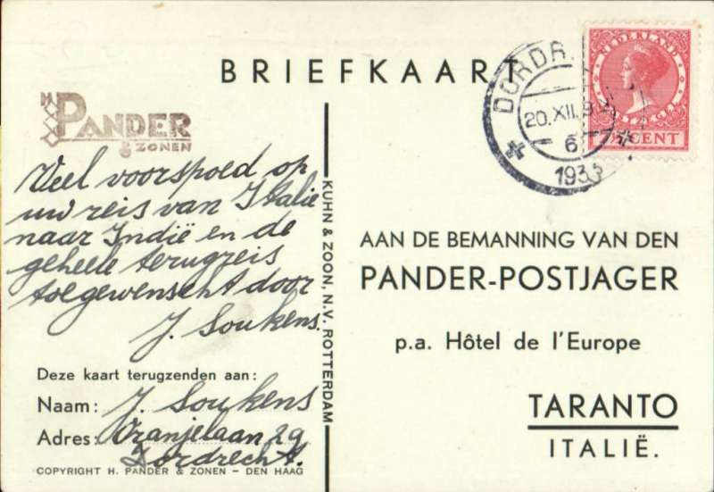 """(Netherlands) Amsterdam to Batavia, 5/1 arrival ds on front, franked 7 1/2c canc Amsterdam cds, and 30c 'Batavia"""" triangular stamp canc 'Postjager/Batavia-Centrum' cds, Taranto PPC with signatures of three pilots on picture side, KLM."""