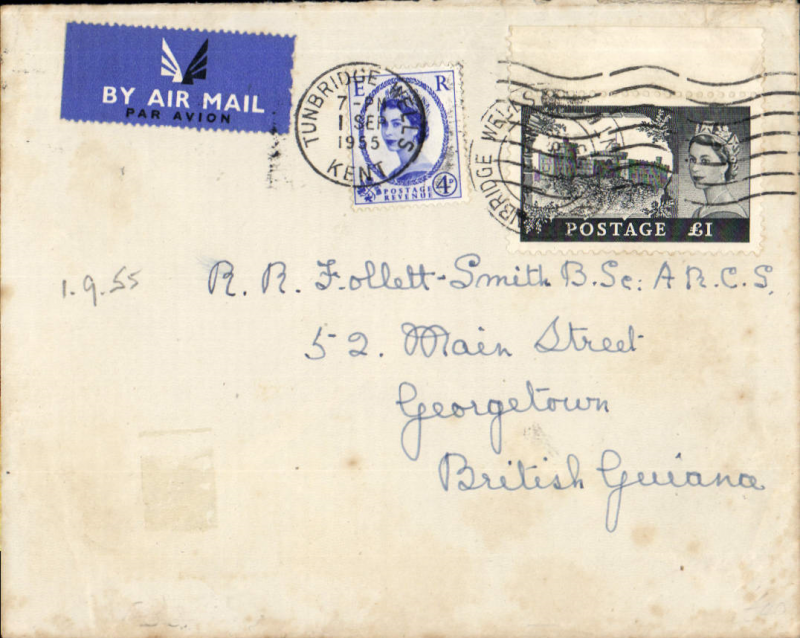 (GB External) Airmail cover, GB to British Guiana, franked QEII WINDSOR CASTLE £1.00 BLACK + 4d, both canc FDI, 1 Sep 1955. Faint toning lower edge, see scan.
