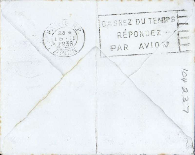 (France) FDI 2F25 AIR SIGNED BY DESIGNER ON TAB, on airmail cover flown from Paris to England, bs Paris Avion 15 II 36.