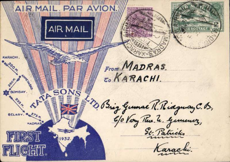 (India) Neville Vincent flying for TATA Airways, return flight from Madras to Karachi, bs 19/10, special TATA cover with red rays and Union Jack, franked 3 anna 3p, black boxed Madras-Karachi cachet receiver date 19/10 verso, white on indigo etiquette rated scarce by Mair, signed facsimile Stephen H Smith verso. The pilots were Neville Vintcent and Homi Baroucha.