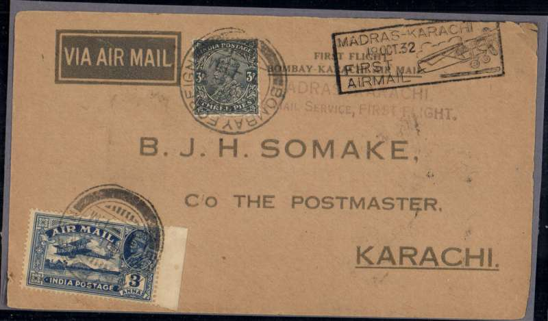 (India) Neville Vincent flying for TATA Airways, return flight from Bombay to Karachi, bs 19/10, imprint etiquette Somake souvenir cover,  franked 6 annas canc Bombay cds, 'First Flight/Bombay-Karachi Air Mail' cachet, black two line 'Madras-Karachi/ Air Mail Service, First Flight', and black framed 'Madras-Karach/19 Oct 32/First/Airmail' arrival cachet,