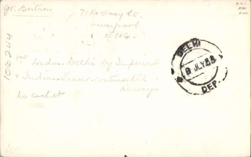 (India) IAW connects with ITCA, LONDON to DELHI, 8/7 arrival ds on front and verso, carried on F/F Karachi to Calcutta Extension, B&W PC franked 4d (postcard rate), Imperial Airways/Indian Trans-Continental Airways. Airmail PC's are much scarcer than letters.
