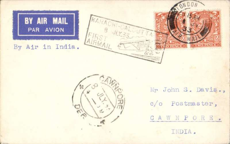 (Alex Newall personal collection) IAW connects with ITCA, LONDON to DELHI, 8/7 arrival ds on front, carried on F/F Karachi to Calcutta Extension, B&W PC franked 4d (postcard rate), Imperial Airways/Indian Trans-Continental Airways. Airmail PC's are much scarcer than letters.