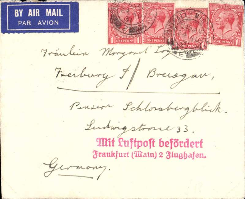 (GB External) Airmail London to Germany, fine strike of scarce red 'Postampt 2 Winnhem' hs verso, via fine strike red two line 'Mit Luftpost befordert/Frankfurt (main) 2 Flughafen' transit hs on front, correctly RATED 4d