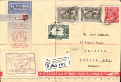 (Selections) Imperial Airways airmail collection of 30 first flight covers from 1931-39, most cacheted and back stamped,originating from GB, South Africa, South West Africa, Australia, Sudan, Hong Kong and Kenya, and noted are 1934 first acceptance of GB airmail for Libya, London-Tripoli,  1939 Scarce first acceptance of mail from France for USA , 1931 Christmas proving flight Kisumu-Cape Town, 1931 Khartoum and Wadi Halfa F/F's to London, 1935 Hong Kong-Penang-London, 1932 London-Bahrain, 1931 All Australian Christmas flight Melbourne-London, 1931 Brisbane-London flown on return of first experimental flight England-Australia, 1934 London-Brisbane. All are scanned on the website.